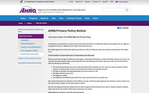 Screenshot of Privacy Page ahrq.gov - AHRQ Privacy Policy Notice | Agency for Healthcare Research & Quality - captured Oct. 7, 2017