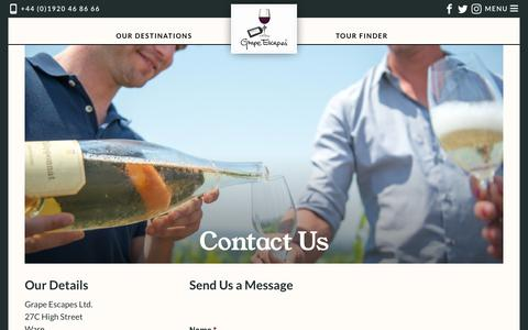 Screenshot of Contact Page grapeescapes.net - Contact Us | Grape Escapes - captured Sept. 30, 2018