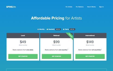 Screenshot of Pricing Page spins.fm - SPINS.fm | Pricing - captured Sept. 17, 2014