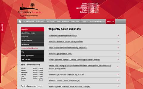 Screenshot of FAQ Page midtownhonda.com - Midtown Honda | Frequently Asked Questions - Honda Dealer in Toronto - captured Oct. 27, 2014