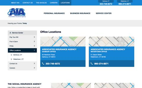 Screenshot of Locations Page aia-danbury.com - Office Locations - Associated Insurance Agency - captured Feb. 6, 2016