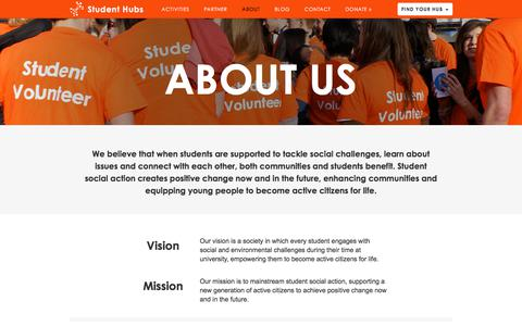 Screenshot of About Page studenthubs.org - About |  Student Hubs - captured Nov. 10, 2017