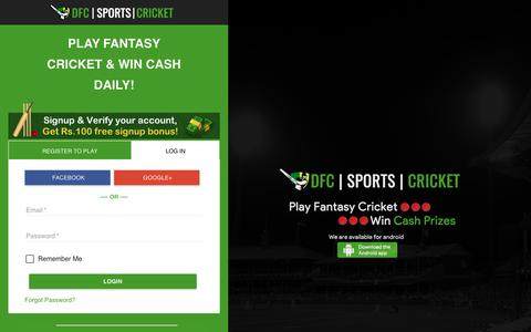 Screenshot of Login Page dailyfantasycricket.com - Daily Fantasy Cricket |Play Fantasy Cricket | Win Cash Prize Today - captured Dec. 9, 2018