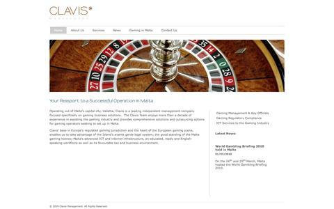 Screenshot of Home Page clavismanagement.com - Malta Gaming Management - Clavis Management Ltd - Malta Gaming Management - captured Oct. 2, 2014