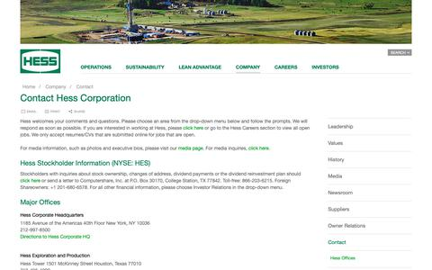 Screenshot of Contact Page hess.com - Hess Corporation: Contact Hess | Hess Corporation - captured May 21, 2019