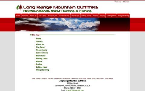 Screenshot of Site Map Page longrangemountain.com - Site Map - captured Sept. 30, 2014