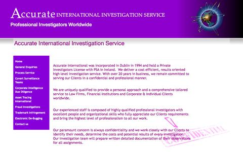 Screenshot of Home Page detectiveagency.ie - Accurate International Investigation Service - Accurate International Investigation Service - captured Oct. 7, 2017