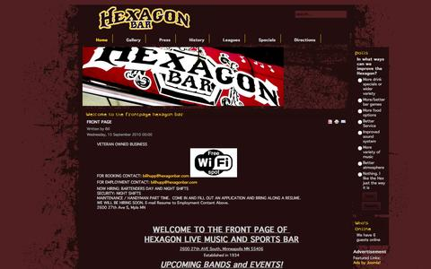Screenshot of Home Page hexagonbar.com - Welcome to the Frontpage Hexagon Bar - captured Jan. 27, 2015