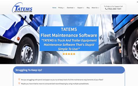 Screenshot of Home Page tatems.com - TATEMS:Fleet Maintenance Software-Truck Maintenance Software Program - captured Nov. 6, 2017