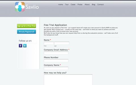 Screenshot of Trial Page saviio.com - Free Trial | Saviio - Psychometric Testing, Assesments, Evaluations Online Psychometric Tests - captured Oct. 4, 2014