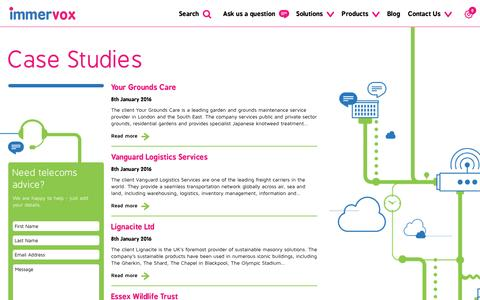Screenshot of Case Studies Page immervox.com - Case Studies | Contact Us | Immervox - captured Dec. 26, 2016