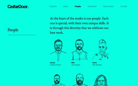 Screenshot of Team Page cellardoorcreative.co.uk - People - CellarDoor - Creative studio, Cheltenham - captured Sept. 27, 2018