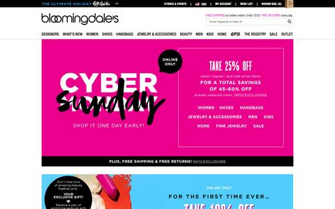 Screenshot of Home Page bloomingdales.com - Shop Bloomingdale's | Designer Dresses, Clothes, Shoes, Handbags, Cosmetics, Home and More - captured Nov. 29, 2015