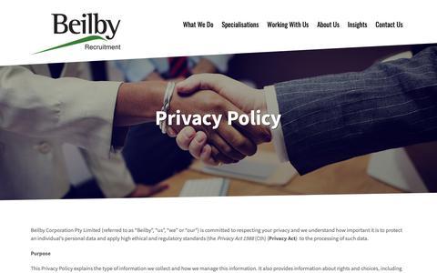 Screenshot of Privacy Page beilby.com.au - Privacy Policy – Beilby - captured Sept. 28, 2018