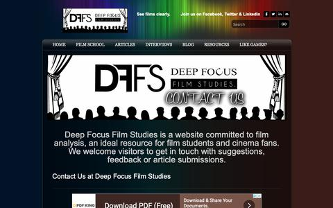 Screenshot of Contact Page deepfocusfilmstudies.com - Contact Us - DeepFocusFilmStudies - captured Oct. 8, 2018