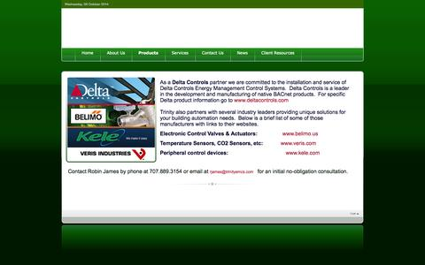 Screenshot of Products Page trinityemcs.com - Trinity EMCS - installer of Delta Controls Energy Management Control Systems - captured Oct. 8, 2014