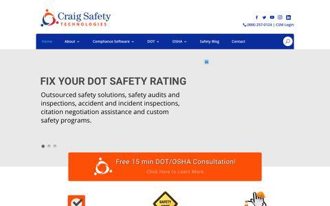 Screenshot of Home Page craigsafetytechnologies.com - Craig Safety Website | DOT and OSHA Compliance Management - captured Sept. 29, 2018