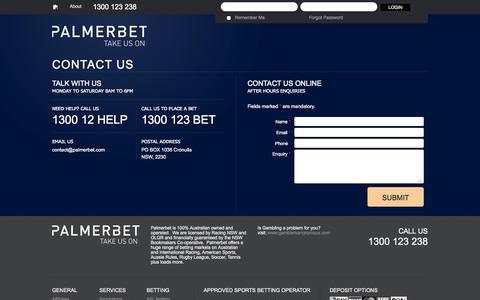 Screenshot of Contact Page palmerbet.com - Contact us | Palmerbet.com - captured Sept. 22, 2014