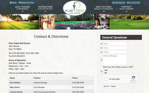 Screenshot of Contact Page Maps & Directions Page plumcreekgolf.com - Plum Creek Golf Course | Public Championship Course | Kyle, TX - Contact & Directions - captured April 8, 2017