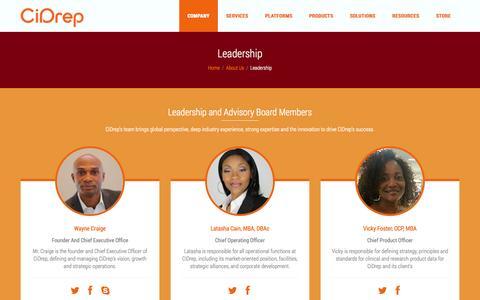 Screenshot of Team Page cidrep.com - Leadership | CiDrep™ - captured Oct. 2, 2014