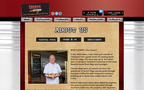 Screenshot of About Page jerrysdogs.com - About - Jerrys Dogs- Official Website : Jerrys Dogs- Official Website - captured Oct. 6, 2014