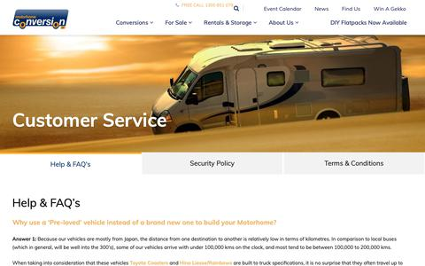 Screenshot of Support Page Terms Page motorhomesoz.com.au - Customer Service - The Motorhome Conversion Company - captured Oct. 20, 2018