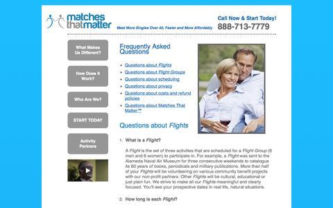 Screenshot of FAQ Page matchesthatmatter.com - Matches That Matter - captured Oct. 27, 2014