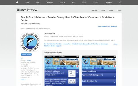 Screenshot of iOS App Page apple.com - Beach Fun | Rehoboth Beach-Dewey Beach Chamber of Commerce & Visitors Center on the App Store on iTunes - captured Nov. 2, 2014