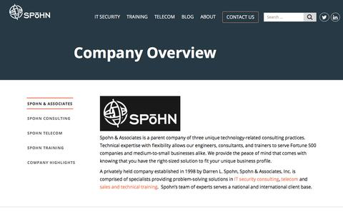Screenshot of About Page spohnsolutions.com - Company Overview - Spohn Solutions - captured Oct. 23, 2017