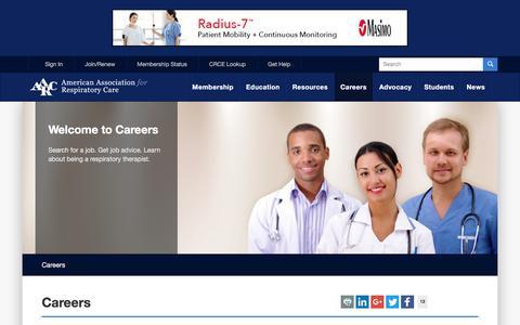 Screenshot of Jobs Page aarc.org - Respiratory Therapist Careers - AARC - captured Sept. 22, 2018