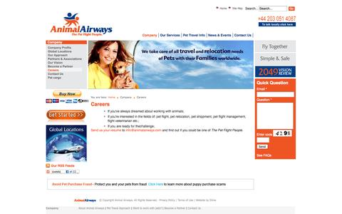 Screenshot of Jobs Page animalairways.com - Animal Airways - A Career Flying Dogs Cats and Other Pets - captured Oct. 29, 2014