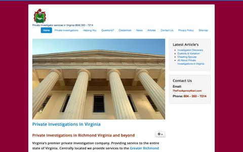 Screenshot of Home Page thefoxagencyllc.com - The Fox Agency LLC - Virginia Private Investigator - Richmond, Midlothian, Chester, Virginia Beach, Fredricksburg, Glen Allen | Private Investigators in Virginia - captured Jan. 30, 2015