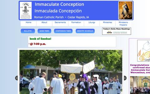 Screenshot of Home Page iccr.church - Immaculate Conception Catholic Church - captured June 23, 2016