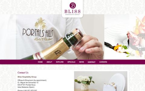 Screenshot of Contact Page bliss-hospitality.com - Bliss Hospitality Group - Official Site - captured Oct. 5, 2014