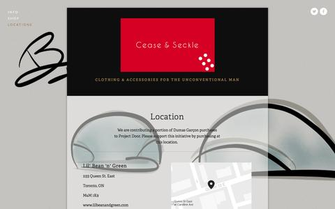 Screenshot of Locations Page squarespace.com - Locations — Cease and Seckle - captured Oct. 27, 2014