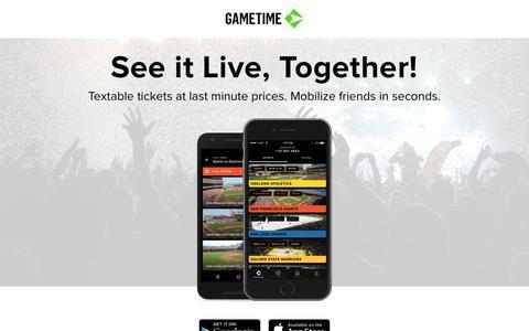 Screenshot of Home Page gametime.co - Gametime - captured July 12, 2016