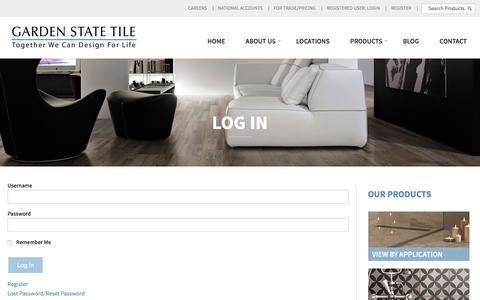 Screenshot of Login Page gstile.com - Log In | Garden State Tile - captured Oct. 25, 2016