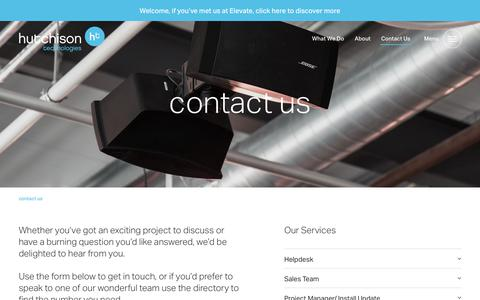 Screenshot of Contact Page hutchison-t.com - contact us | Hutchison Technologies - captured May 21, 2019