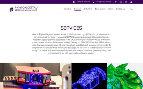Screenshot of Services Page physicaldigital.com - 3D Optical Measurement Services, 3D Scanning Services, Physical Digital - captured Dec. 14, 2018