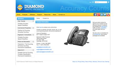 Screenshot of Contact Page diamondtraffic.com - Contact Information   Diamond Traffic Products - captured Oct. 12, 2017