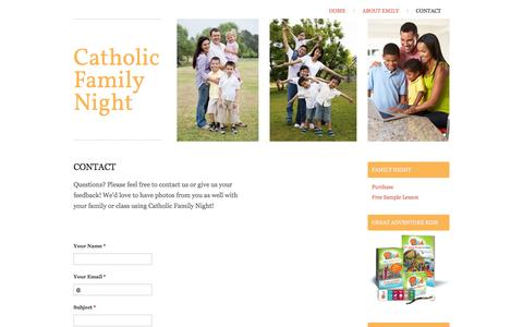 Screenshot of Contact Page catholicfamilynight.com - Catholic Family Night - Contact - captured Sept. 29, 2014