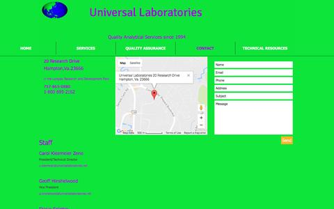 Screenshot of Contact Page universallaboratories.net - Universal Laboratories provides services in the Environmental Testing  | CONTACT - captured May 11, 2017