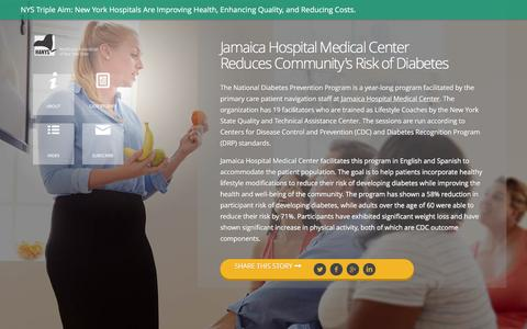 Screenshot of Case Studies Page hanys.org - Jamaica Hospital Medical Center Reduces Community's Risk of Diabetes - captured July 9, 2016