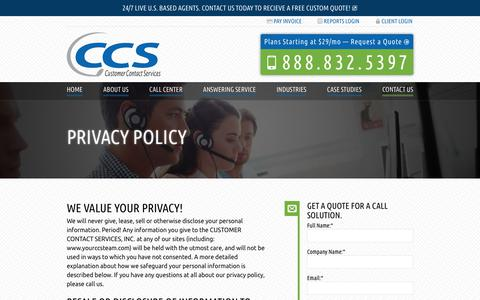 Screenshot of Privacy Page yourccsteam.com - Read Our Privacy Policy | Customer Contact Services - captured April 26, 2019