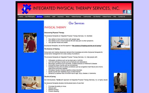 Screenshot of Services Page moonfruit.com - Services - Integrated Physical Therapy Services, Inc. - captured Sept. 16, 2014