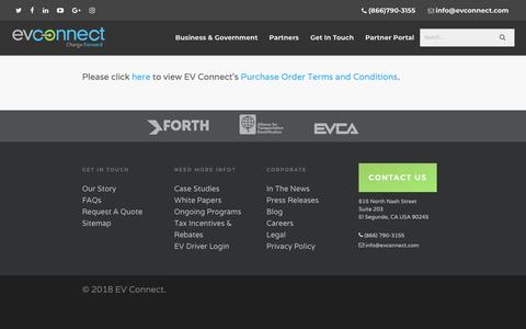 Screenshot of Terms Page evconnect.com - EV Connect Purchase Order Terms and Conditions - EV Connect - captured Oct. 3, 2018