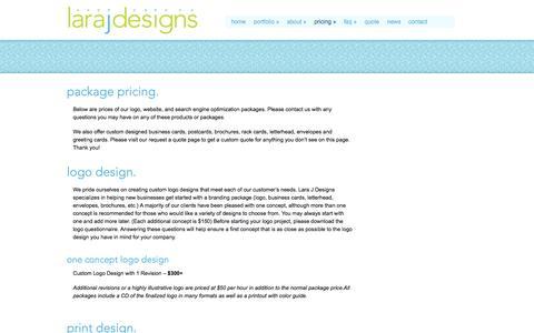 Screenshot of Pricing Page larajdesigns.com - Package Pricing | Lara J Designs - captured Sept. 29, 2014