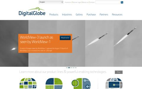 Screenshot of Home Page Products Page Site Map Page digitalglobe.com - High Resolution Satellite Images & Photos | DigitalGlobe - captured Sept. 15, 2014