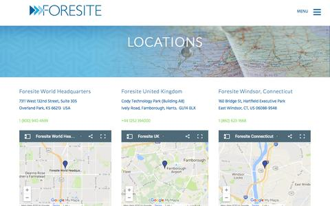 Screenshot of Locations Page foresite.com - Our Offices | Foresite Network Solutions & Managed Security - captured Nov. 25, 2016