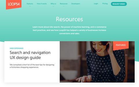 Screenshot of Case Studies Page loop54.com - Resources and Site-Search Case Studies - Loop54 - captured Nov. 5, 2018